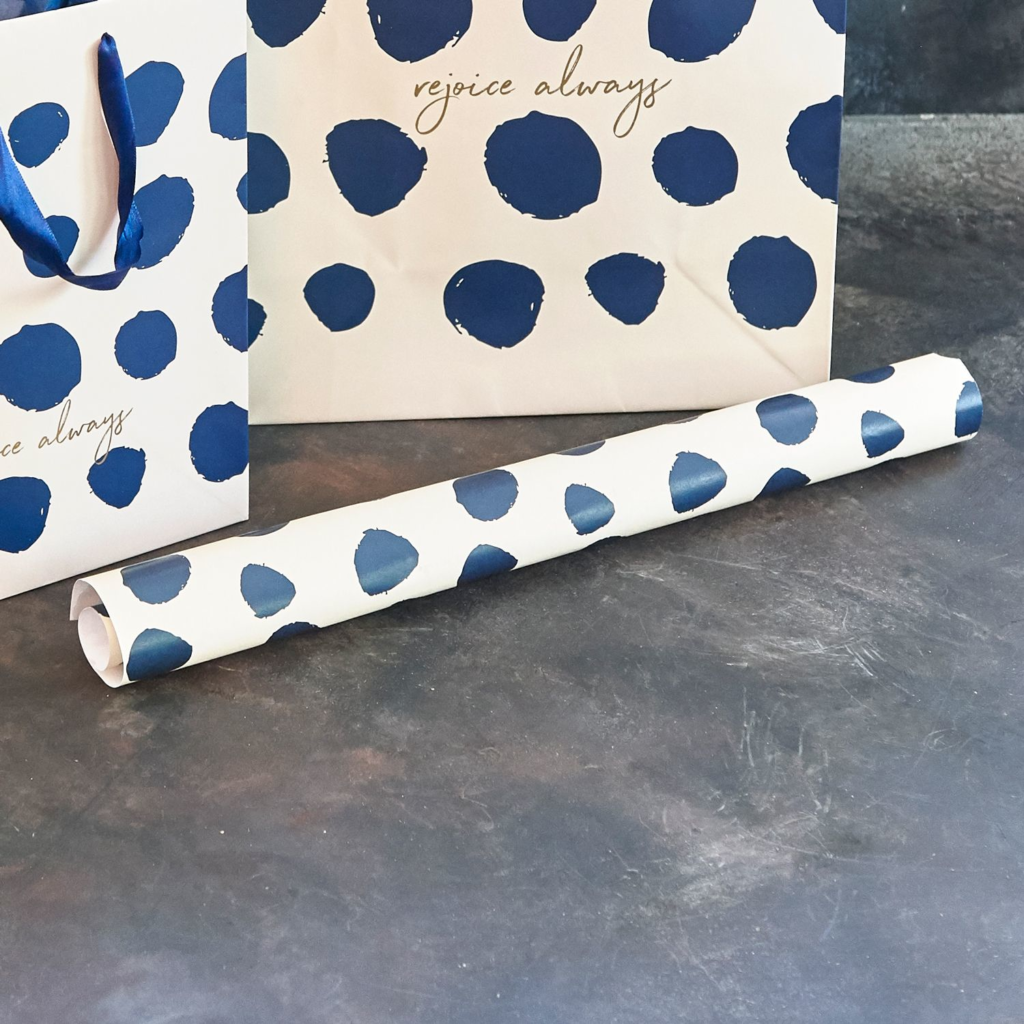 Large Navy Dot Wrapping Paper