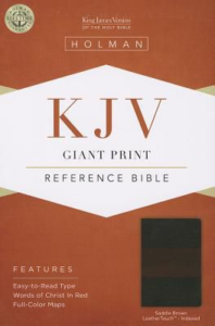 KJV Giant Print Reference Bible, Saddle Brown LeatherTouch Indexed