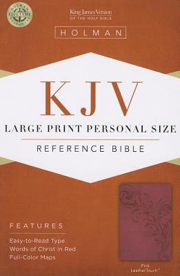 KJV Large Print Personal Size Reference Bible, Pink LeatherTouch