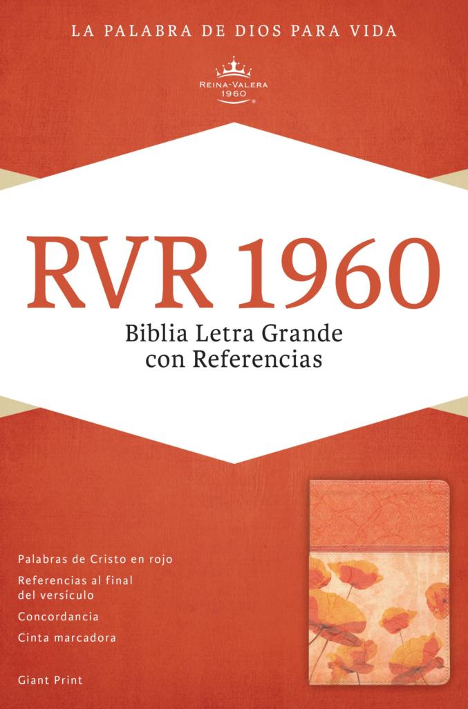 RVR 1960 Biblia Letra Gigante con Referencias, damasco/coral símil piel