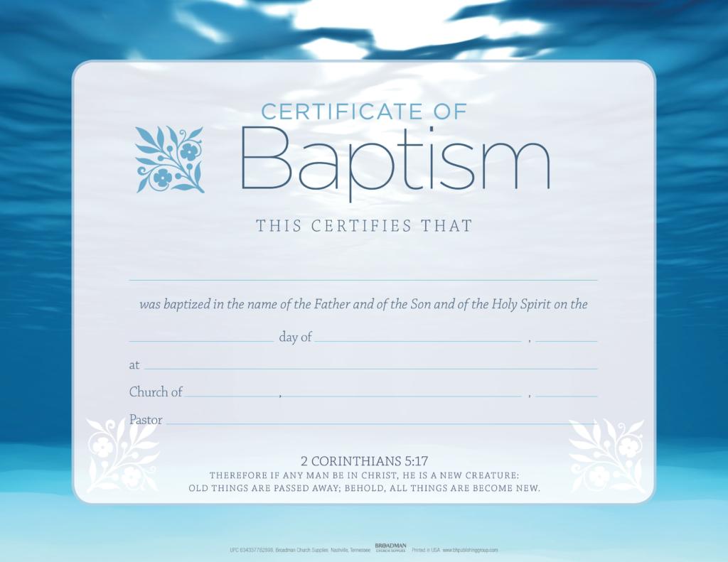 Baptism – Blue Flat Certificate (Pkg 6)