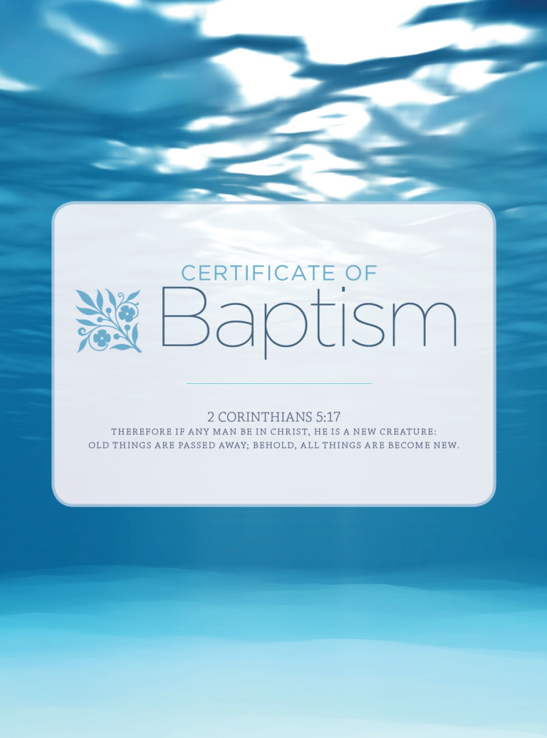 Baptism – Water and Clouds Folded Certificate (Pkg 6)