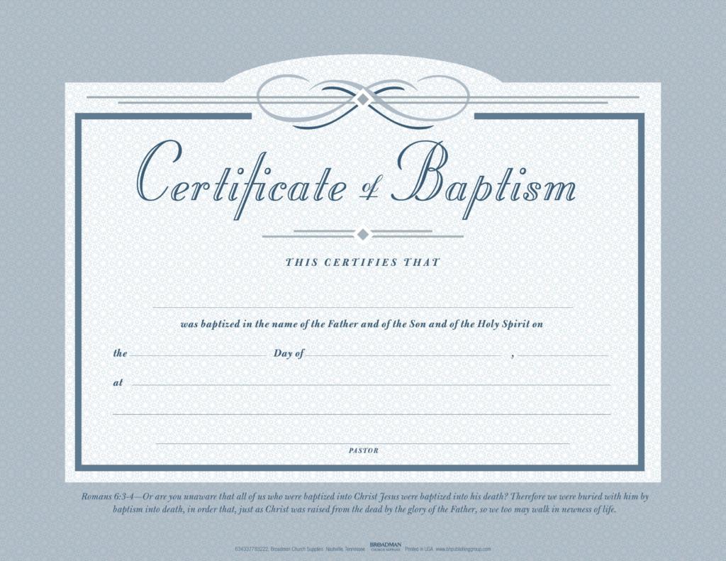 Baptism Flat Certificate (Pkg 6)