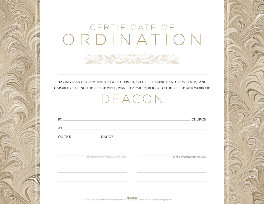 Deacon Ordination Flat Certificate (Pkg 6)