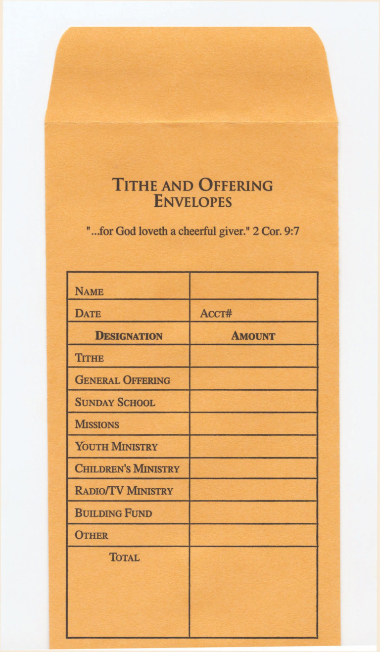 Tithe and offering envelope