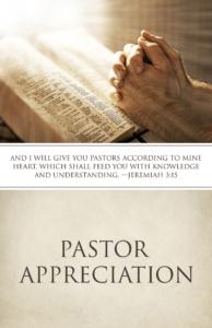 Pastor Appreciation: Jeremiah 3:15 – Bulletin (Pkg 100) Pastor Appreciation