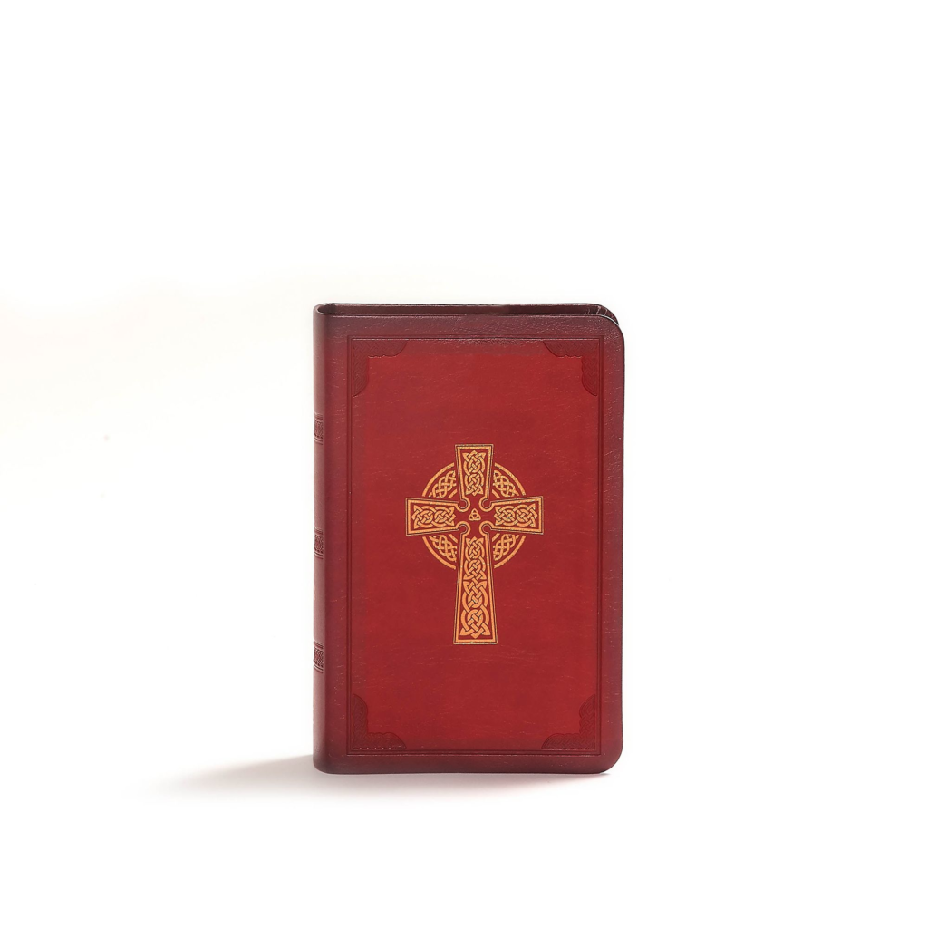 CSB Large Print Compact Reference Bible, Celtic Cross Crimson LeatherTouch