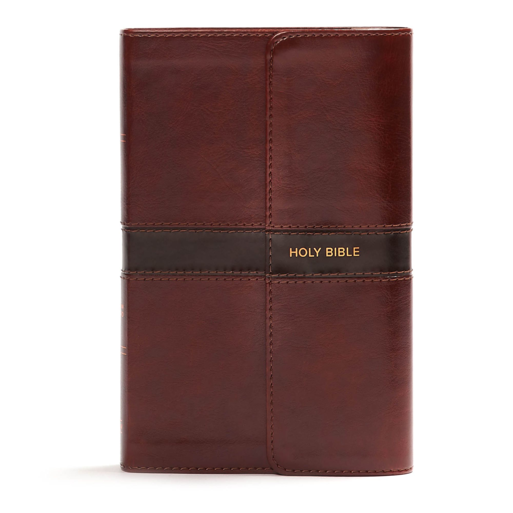 CSB Personal Size Bible, Saddle Brown LeatherTouch with Magnetic Flap