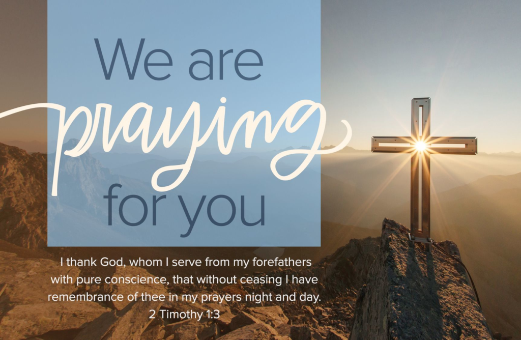 We Are Praying For You – Postcard (Pkg 25)  General Worship