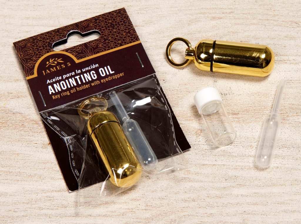 Anointing Oil Holder – Brass (bag w/header)