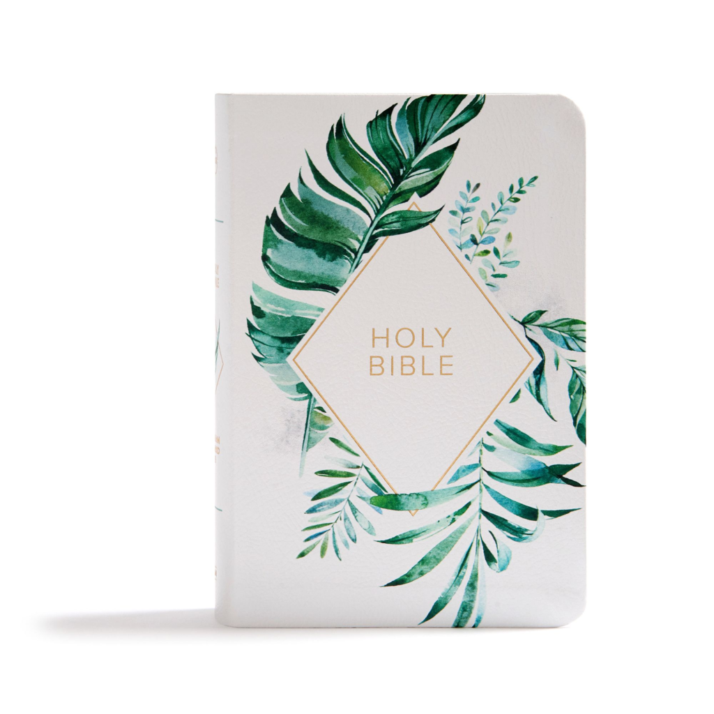 KJV On-the-Go Bible, White Floral Textured LeatherTouch