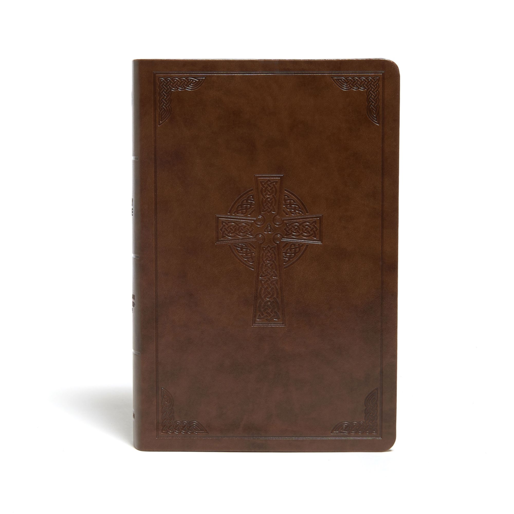 CSB Large Print Personal Size Reference Bible, Brown Celtic Cross LeatherTouch, Indexed