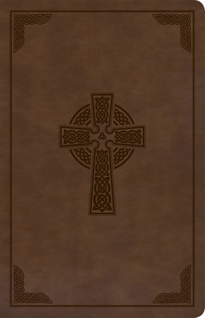CSB Large Print Personal Size Reference Bible, Brown Celtic Cross LeatherTouch