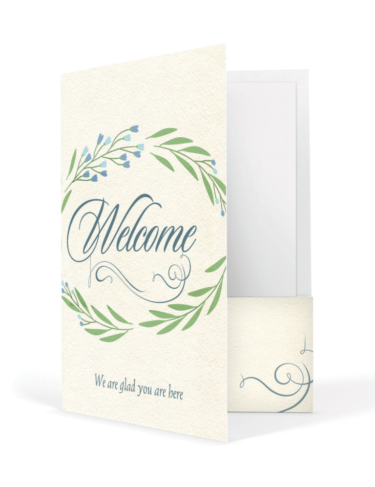 Welcome We Are Glad You Are Here  – Welcome Folder (Pkg. 12)